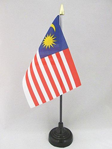 AZ FLAG TISCHFLAGGE Malaysia 15x10cm goldene splitze - Malaysia TISCHFAHNE 10 x 15 cm - flaggen
