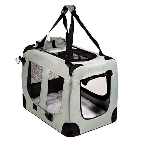 Smartfox Hundebox Hundekäfig Katzenbox Auto Transportbox mit Kunstfell-Matte tragbar faltbar Größe XL (78 x 55 x 57) cm in Grau