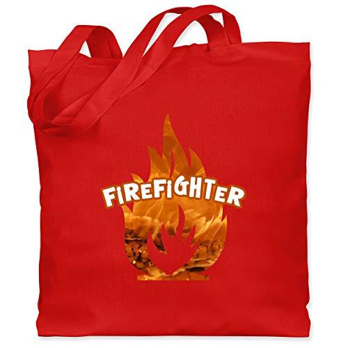 Shirtracer Feuerwehr - Feuer Flammen Firefighter - Unisize - Rot - Silhouette - WM101 - Stoffbeutel aus Baumwolle Jutebeutel lange Henkel