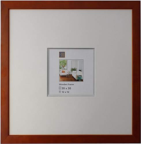 Intertrading Bilderrahmen 30 x 30 quadratisch braun Holz massiv incl. Schrägschnitt-Passepartout 12x12 Holzrahmen Echt-Glas