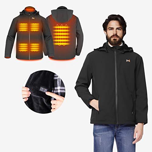 Beheizte Jacken Damen/Herren, leichte Outdoor Heizjacke, Duale Temperaturkontrolle Zwei Heizzonen beheizter Kragen zum Wandern, Joggen, Campen, Skifahren, Angeln (Batterie Nicht inbegriffen)