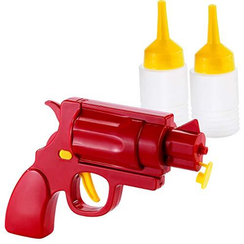 infactory Dispensador de mostaza: Pistola de ketchup y mostaza 2 en 1 (Dispensador dosificador)