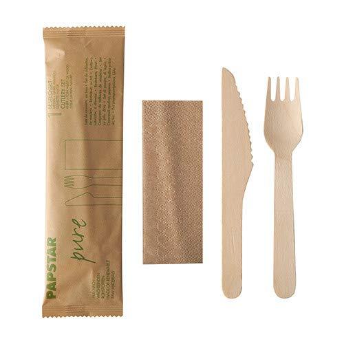 PAPSTAR Besteckset (Gabel, Messer und Serviette in kompostierbarer Tasche), 15 Pakete, 100 % biologisch abbaubar, nachhaltig aus Holz