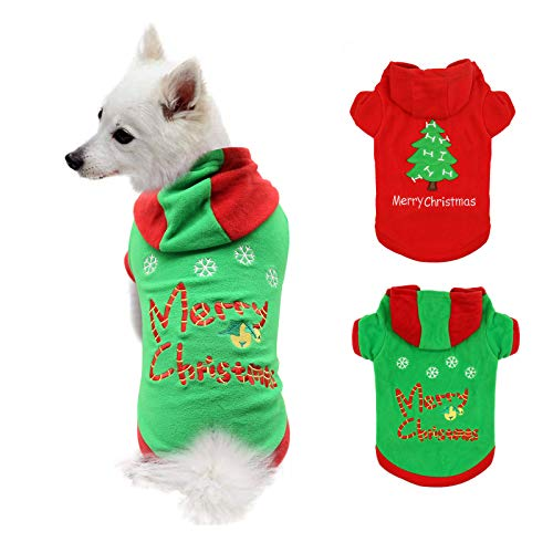 HYLYUN Puppy Christmas Outfit 2 Packs - Small Dog Christmas Outfits Pet Santa Claus Suit Dog Hoodies...