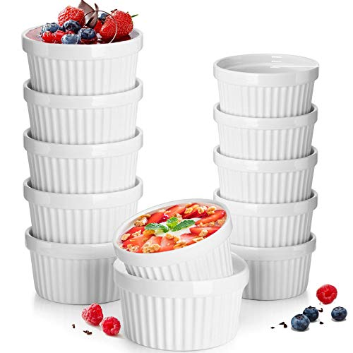 DeeCoo 12 Pack Porcelain Souffle Dish Ramekins Baking Cups – 6 oz x 6, 8 oz x 6 -Oven Safe White Ramekins Bakeware Set for Pudding, Creme Brulee, Custard Cups and Souffle Small instant table tray