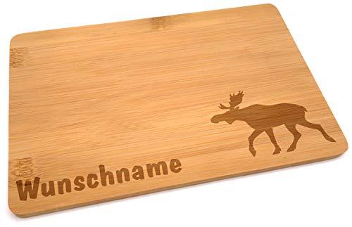 Samunshi® Holzbrett mit Gravur Elch aus Bambus Brett Frühstücksbrettchen als Holz Schneidebretter Holzbrett Küche Vesperbrett