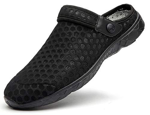 Unisex Clogs Hausschuhe Muffin Unten Alltägliche Drag Pantolette Sommer Beach Schuhe Sandalen für Damen Herren, E Schwarz, 45 EU