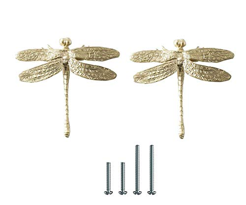 UniDes 2 Pcs Brass Drawer Pull Knob Gold Cabinet Dreeser Handle - Dragonfly Designed for Modern Home