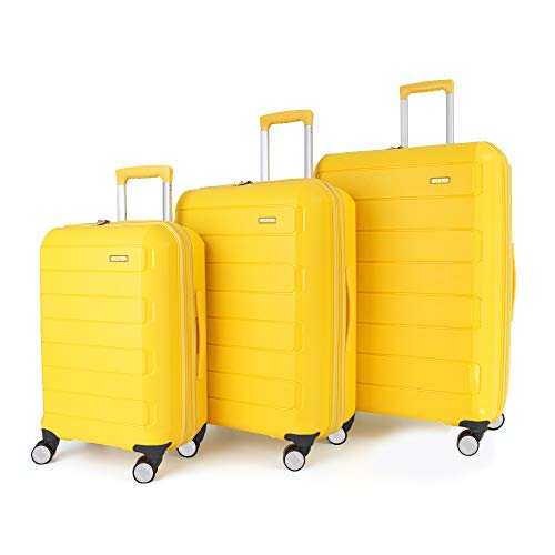 Eono by Amazon Expandable Luggage Set of 3 Piece Polypropylene Hard Shell Anti-Scratch Suitcases with 4 Spinner Wheels and Built-in TSA Lock, 55 cm, 66 cm, 76 cm, Yellow