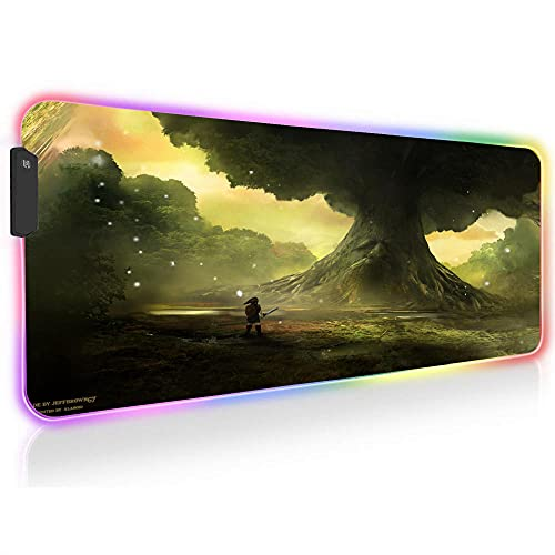 The Legend of Zelda Anime Gaming Mouse Pads RGB LED Keyboard Extended Speed Large XXL Desk Mat 31.5 inch X 11.8 inch X0.16 inch