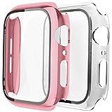 Fengyiyuda Cover[2-Pezzi] Compatibile con Apple Watch Custodia 38/40/42/44mm con Anti-Bubble TPU Pellicola Protettiva,360 Rugged Case per IWatch Series se/6/5/4/3/2/1-Rose Gold/Clear,44mm