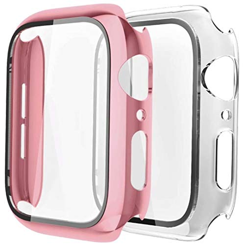 Fengyiyuda Funda[2 Pack] Compatible con Apple Watch 38/40/42/44mm,Estuche con TPU Protector de Pantalla,Caja Protector Anti-Choque Caso para IWatch Series se/6/5/4/3/2/1-Rose Gold/Clear,40mm