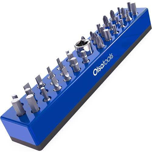 Olsa Tools Hex Bit Organizer with Strong Magnetic Base   Magnetic Hex Bit Organizer for Your Specialty, Drill or Tamper Bits (Blue)   Magnetic Bit Holder   Hex Holder   Professional Gra