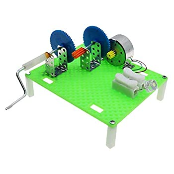 HEEPDD Hand Crank Generator Kit Two-Stage Acceleration Hand Crank Generator Accessories Physical Experiment Educational Toy Student DIY Invention for Kids Age 7-14
