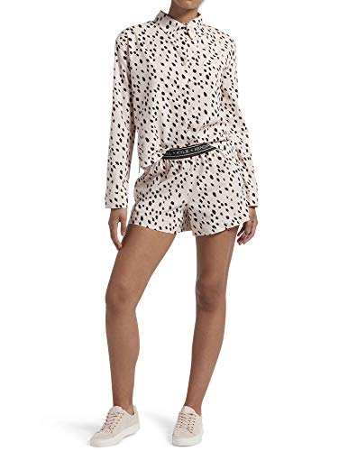 Kendall + Kylie Women's Notched Collar Boxer Set, Angel Wing - Dalmatian, Medium