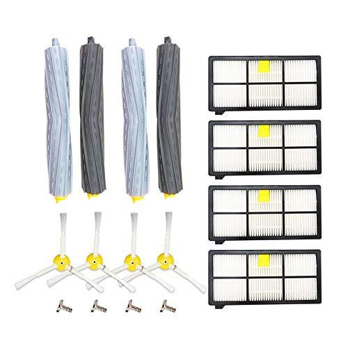 Festnight borstelaccessoires-kit compatibel met stofzuiger uit de serie 800/900 van I-Robot vervangende veegapparaat accessoires (2 x hoofdborstel + 4 x zijborstel + 4 x filternet)
