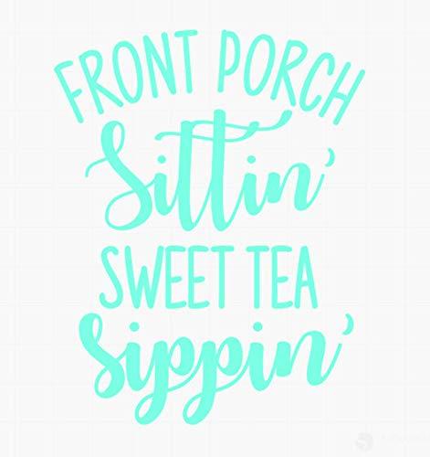 """Celycasy Aufkleber für die Veranda, Aufschrift """"Sittin' Sweet Tea Sippin"""", süßer Tee, Zitat, Yeti, Aufkleber, Autoaufkleber, Tasse, Aufkleber"""