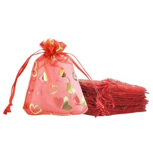 Heiqlay sacs organza rouge Cour sachets pochettes cadeau en organza sac à bijoux en organza, Pochettes pour la fête de mariage de Noël Stockage de cadeaux cosmétiques pour bijoux, 50 pièces