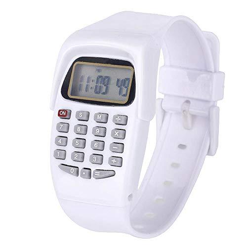 Ycljsq Multifunctionele rekenmachine, 8-cijferig cursus, casual, siliconen, led-elektronische klok voor kinderen