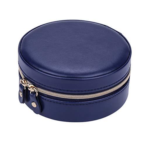 Caja de almacenamiento de joyería, caja de almacenamiento redonda portátil con espejo doble cremallera collar pendientes