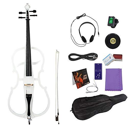 Conjunto de violonchelo eléctrico, accesorio de electroacústico de cello eléctrico de arce de calidad con sintonizador de cuerdas de proa Antideslizante Alfombrilla de colofonia Cable(blanco)