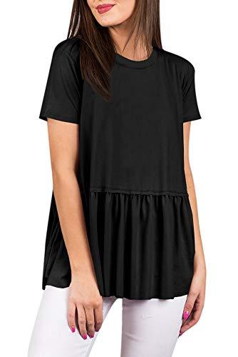 Womens Summer Pleated Short Sleeve Casual T Shirt Cotton Loose Flare Cute Peplum Hem Tunic Top Black L