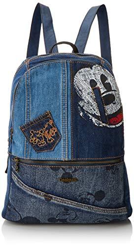 Desigual - Bols_exotic Mickey Milan, Bolsos mochila Mujer, Azul (Denim Dark Blue), 13x39.5x31 cm (B x H T)