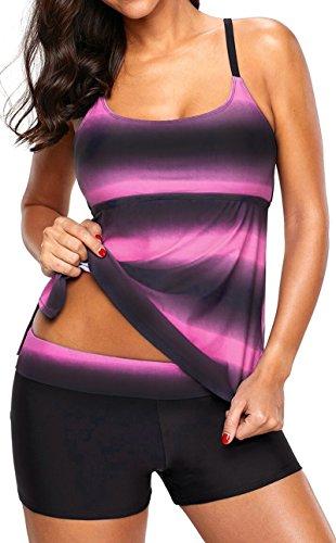 EUDOLAH Damen Mehrfarbig X-Back Tankini mit Hotpants Shorts Bademode mit Bügeln UV Schutz (EU 46/ 4XL, pink)