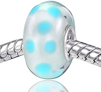 MATERIA 542 - Cuentas de plata 925 con cristal de Murano azul y puntos de metal para pulseras europeas