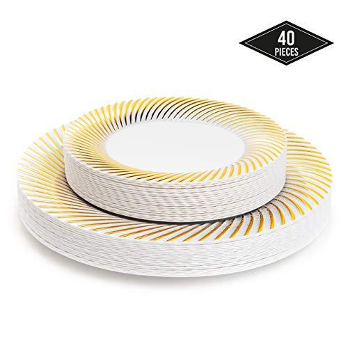 40 Elegante Hartplastik Einwegteller mit Goldrand, 2 Größen (20 Speiseteller & 20 Dessertteller) - Stabil & Mehrweg Partyteller Kunststoff| Partygeschirr für Catering Hochzeiten Partys Weihnachten.