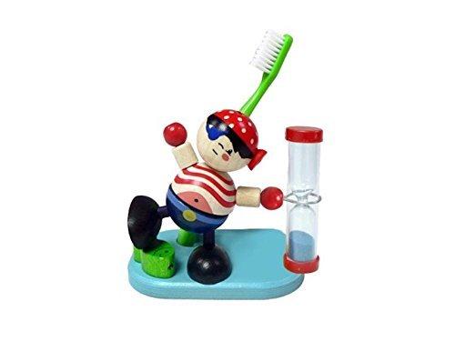 Hess Holzspielzeug 14579 - Zahnputzuhr aus Holz, mit Bürstenhalter, Serie Pirat, für Kinder, handgefertigt, drehbare Sanduhr mit farbigem Sand, zur täglichen Nutzung beim Zähneputzen