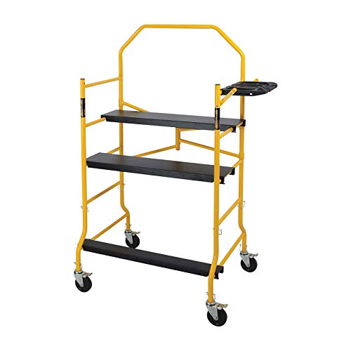 MetalTech 5 Foot High Portable Adjustable Platform Jobsite Series Mobile Scaffolding Ladder with Locking Wheels