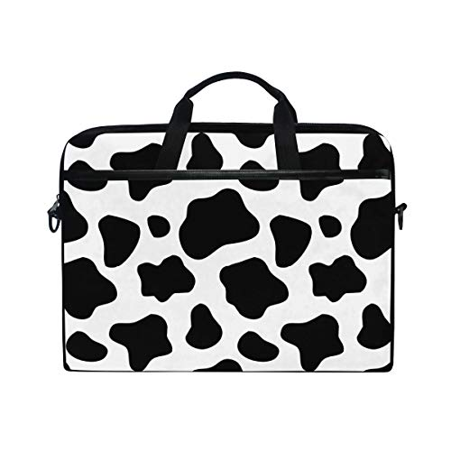 ALAZA Black and White Cow Print Laptop Case Bag Sleeve Portable Crossbody Messenger Briefcase Convertible w/Strap Pocket for MacBook Air Pro Surface Dell ASUS hp Lenovo 14-15.4 inch