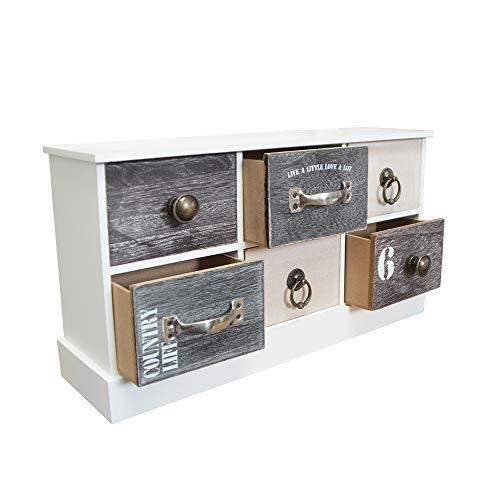 DRULINE Mini Kommode Schubladen Ablagefläche Schmuckkasten mit Stauraum zur Aufbewahrung aus Holz 6 Fächer Breit Schlafzimmer Wohnzimmer Platzsparend | LHC40W | L x B x H 40 x 13 x 21.5 cm | Weiß Natur
