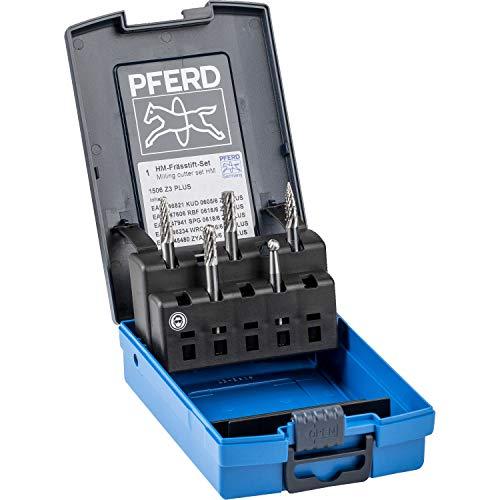 PFERD HM-Frässtift-Set, 5-teilig, Zahnung 3 PLUS, Schaft-ø 6 mm, 21901506 – für universelle Anwendungen auf den wichtigsten industriell verwendeten Werkstoffen