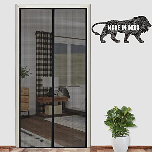Lifekrafts Polyester Mosquito Screen Curtain for Main Doors Mesh with Magnets (Black, 200 x 100 Cms)