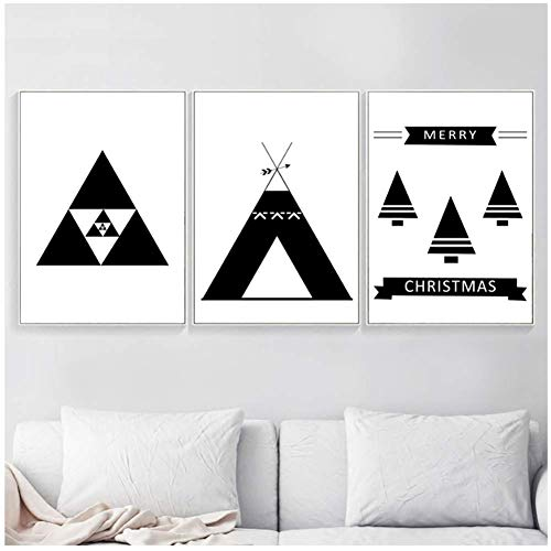 wzgsffs Geometry Arrow Tent Tree Abstract Wall Art Canvas Painting Posters And Prints Black White Wall Pictures For Room-16X24*3P Inch Frameless