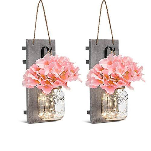 Rustikale Einmachgläser Wandleuchten Licht,KINGCOO Vintage Holzbrett Seide Hortensie Blumen LED Lichterketten Hängeleuchten Batteriebetrieben für Hauptwand Beleuchtungs Dekorationen (Rosa)