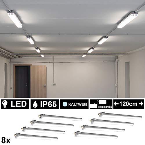 8er Set 36 Watt SMD LED Wannen Röhren Leuchten Werkstatt Tageslicht Strahler Nass Raum Decken Lampen Keller 120 cm Kaltweiß