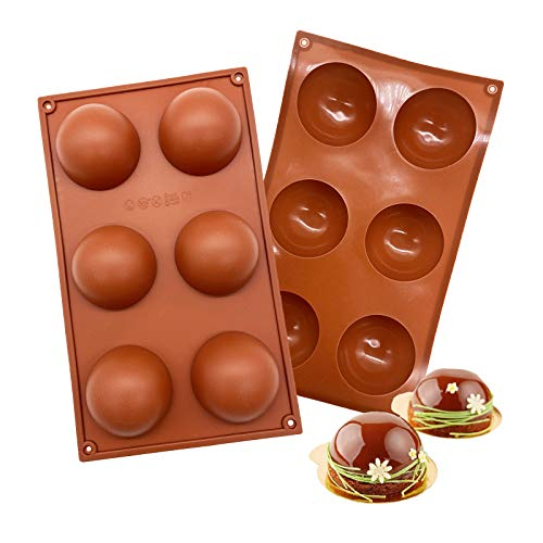 6 Holes Silicone Mold For Chocolate, Cake, Jelly, Pudding, Handmade Soap, Round Shape Half Sphere Mold Non Stick, BPA Free Cupcake Baking Pan 2 Pcs