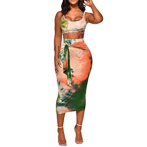 Womens Sexy Boho Print Print Tanks Crop Top Bandage Bodycon 2 Pieces Long Midi Pencil Dresses Outfits Skirt Set Dark Green M