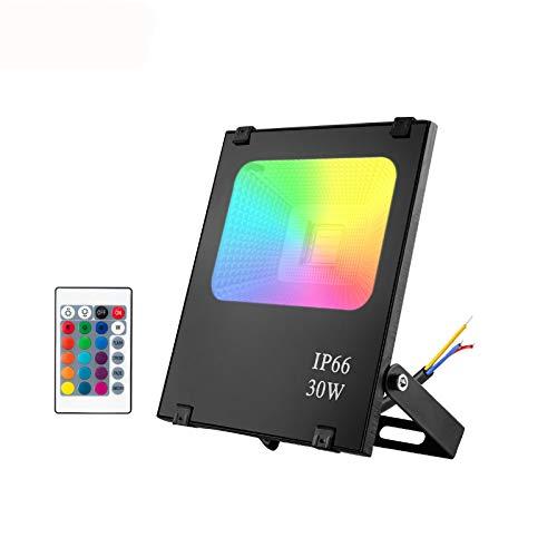 30W LED Außen Strahler RGB LED Fluter mit Fernbedienung, Wasserdicht IP66 Außenstrahler Farbig, 4 Modi 16 Farben LED Sicherheitsleuchte Garten Stimmungslichter