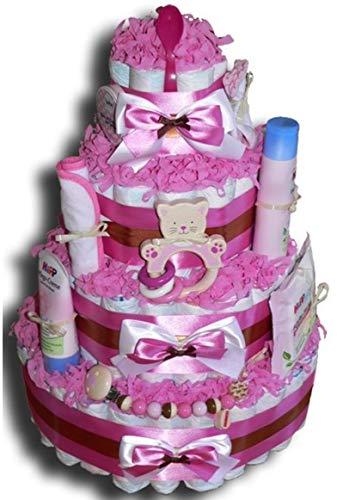 WindeltortenZauber - Tarta de pañales XXL para niñas, regalo para bebés, baby shower, bautismo, nacimiento, souvenir
