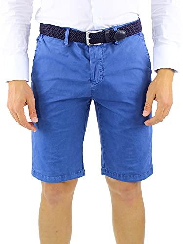 Bermuda Uomo Pantaloncini Cotone Corti Slim Fit Leggero Estivi Tasca America (Blu Cobalto, 44, Numeric_44)