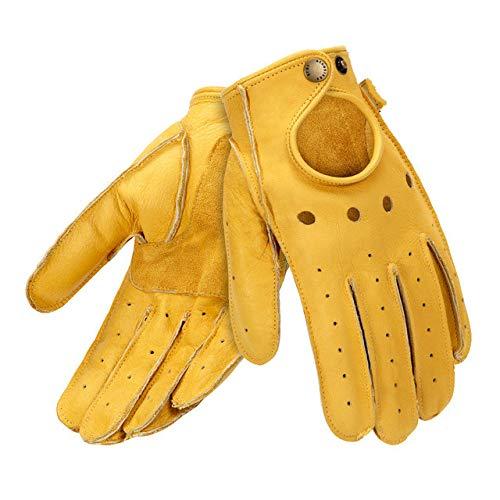 Guanti da moto in pelle da uomo retrò mezze dita guanti da moto guanti da motociclista - Full Finger -Giallo, L.