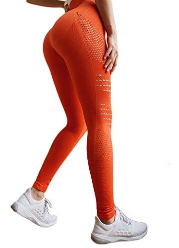 INSTINNCT Damen Yoga Lange Leggings Slim Fit Fitnesshose Sporthosen #5 Ventilationslöcher Stil - Orange S