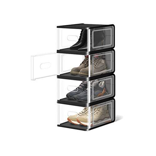 Zapatero Caja de zapatos apilable zapato cajas de almacenamiento organizador robusto plástico puerta y tapas cajas de zapatos transparentes conjunto de 8 Organizador para Zapatos ( Color : Black )