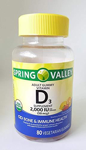Spring Valley Adult Gummy Vitamin D3 Supplement, 2000IU, 50mcg USDA Organic, 80 Vegetarian Gummies