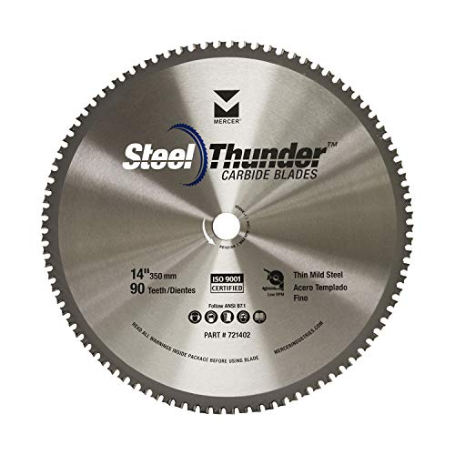 mercer abrasives 14 diamond blades Mercer Industries 721402 Steel Thunder 90 Tooth Carbide Chop Saw Blade for Thin Mild Steel, 14