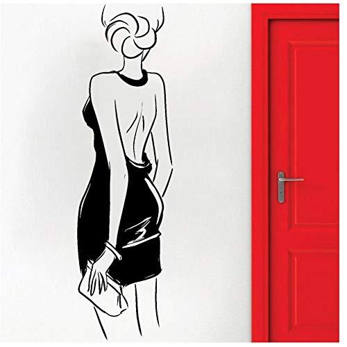 Vrouw muursticker sticker slaapkamer meisje met portemonnee vinyl mooie muursticker markt decoratie voor woonkamer 30x102 cm